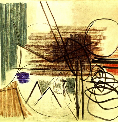 Scribbles and abstract shapes against a yellow background.