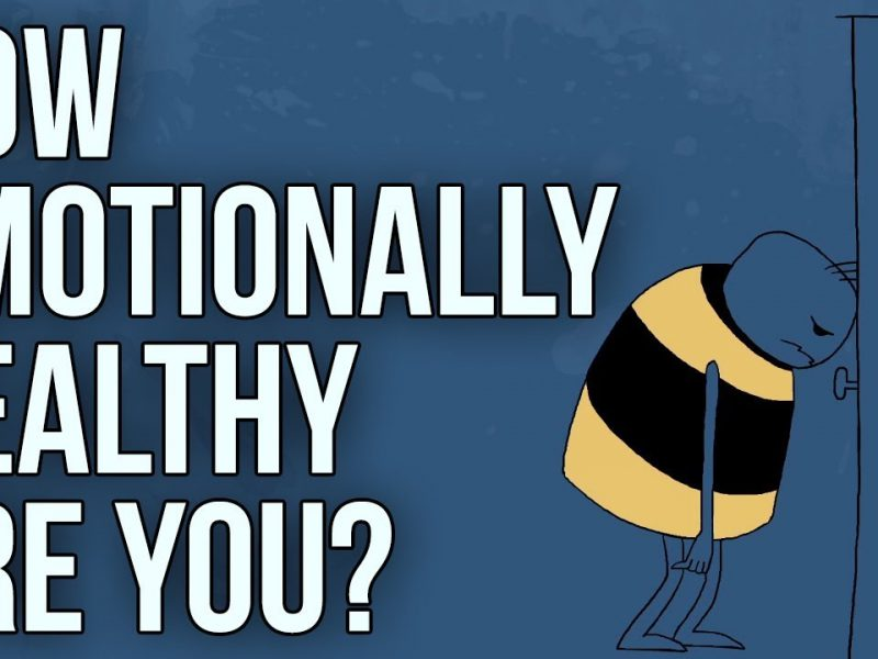 on a blue background there is a cartoon sketch of a tiny figure dressed in a striped yellow and black shirt. the white text reads in bold lettering, 'how emotionally healthy are you?'