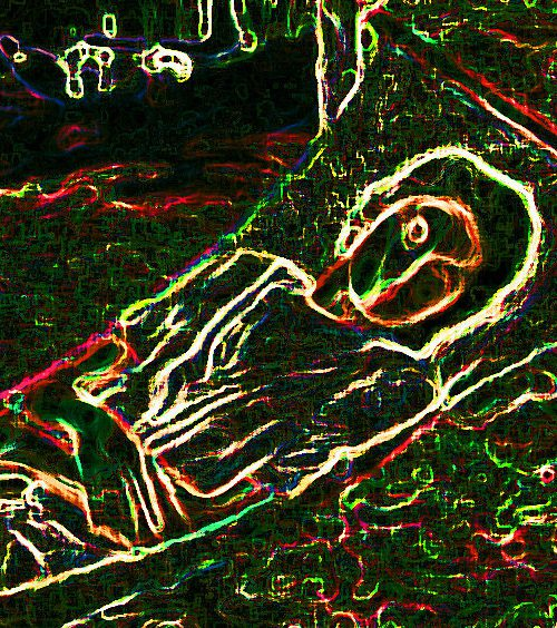 Against a dark background, there are a bunch of white neon lines making up a silhouette of a person lying in a reclining position.