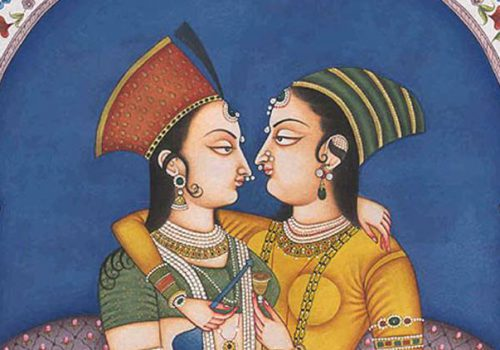 an illustration of a man and woman facing each other, dressed in traditional medieval indian garb