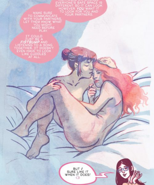 an illustration of two naked women curled up against one another in an intimate position