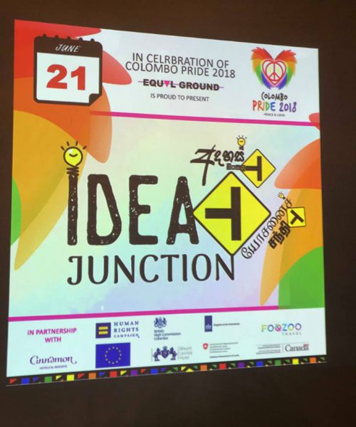 A placard against a black background, on which is written 'Idea Junction, Colombo Pride 2018.'