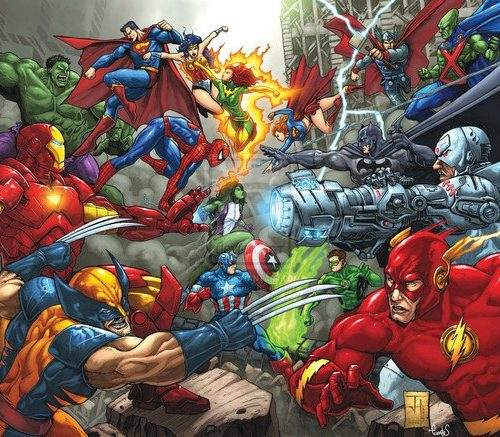 a comic book representation of multiple superheroes fighting with each other
