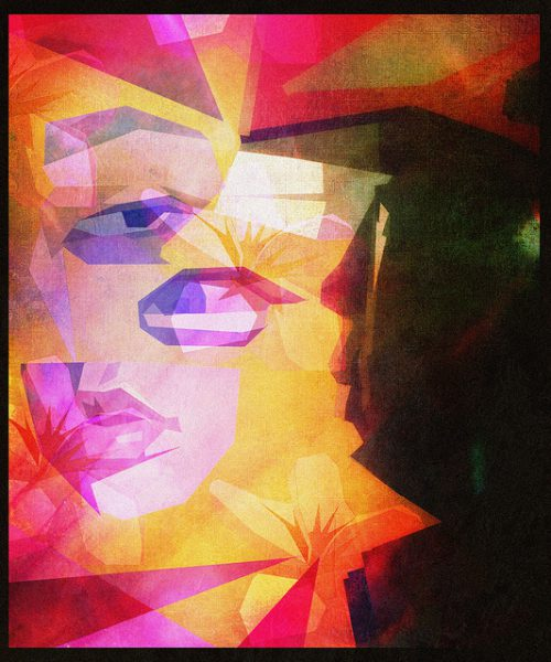 illustration of a distorted face, painted in pinks and yellows