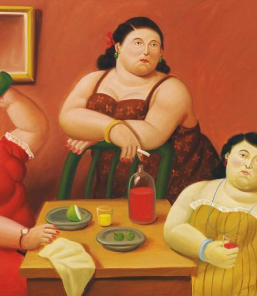 An illustration of three plus-sized women sitting around a table. there are plates of food kept on the table, and one of the women are shown drinking out of a bottle