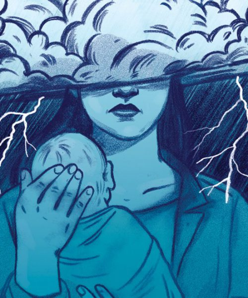 illustration of a woman who's face is covered holding a baby to her chest. her face is half hidden.