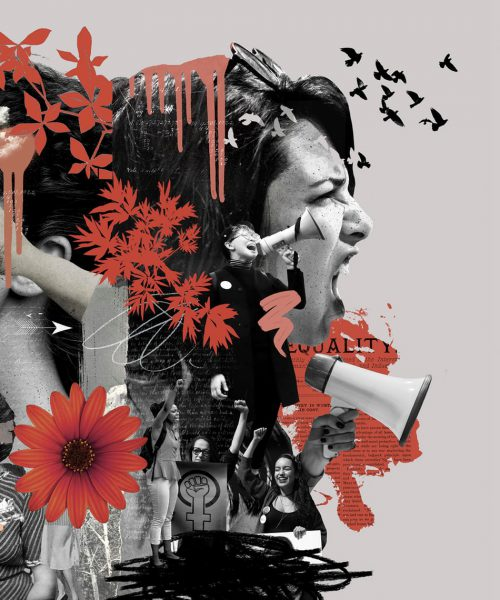 a collage of black and white photos of women smeared in red paint who seem to be screaming metoo