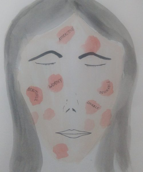A drawing of a woman's face with red spots on it