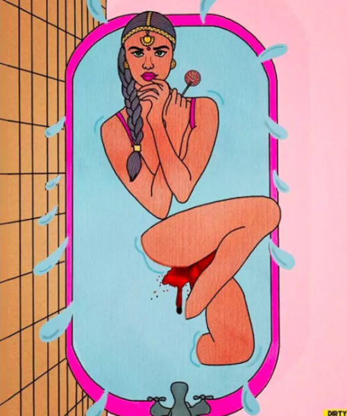 Illustration of a naked woman in a bathtub, her menstrual blood visible in the water she's taking a bath in