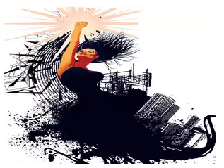 Illustration of a woman dressed in black, holding her hand up in a gesture of protest