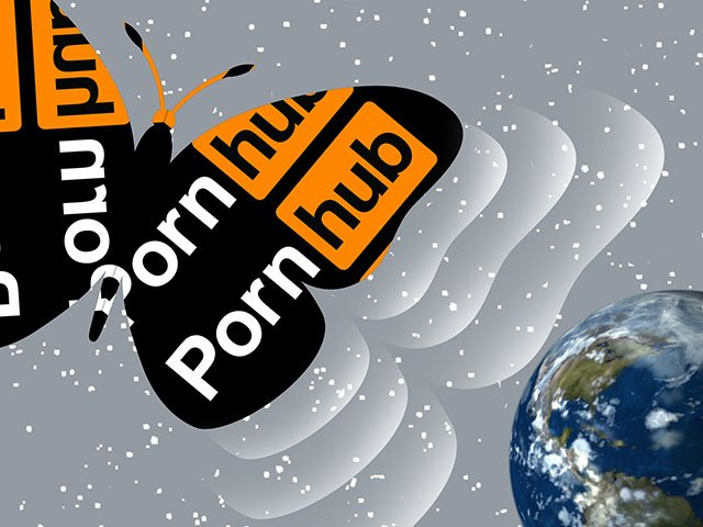 the butterfly effect; cover image for jon ronson's podcast - the pornhub logo shaped as a butterfly