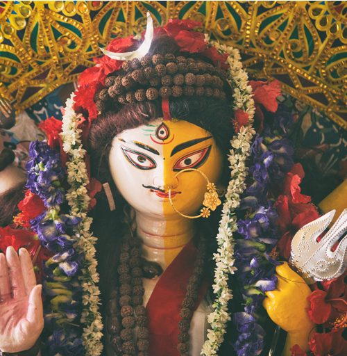 Picture of an idol of goddess Durga, shown as half man half woman.