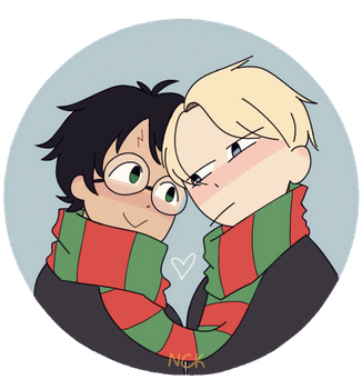 fanart of harry and draco from harry potter, reimagined as a queer couple