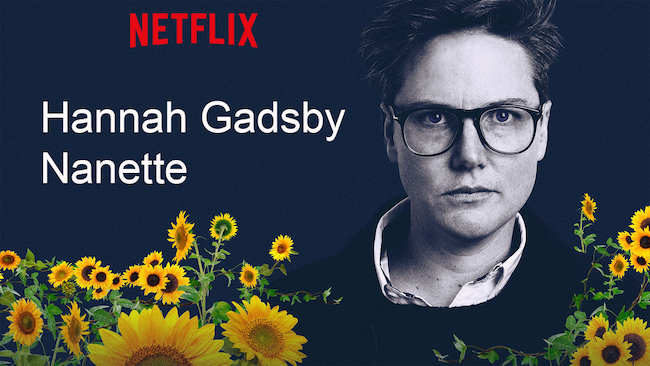picture of comedian hannah gadsby with the text 'hannah gadsby, nanette' written beside her