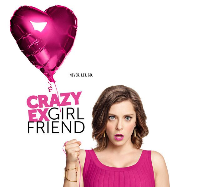 poster for 'crazy ex girlfriend': a woman in a magenta dress holding up a magenta balloon