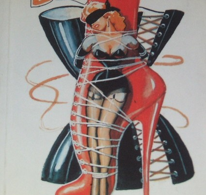 pop art illustration of a woman tied by various ropes to a high-heeled shoe
