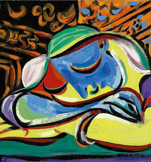 a modern painting of a sleeping girl