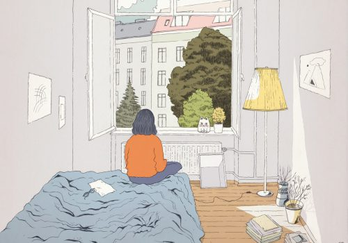 Illustration of girl sitting on bed looking out the window