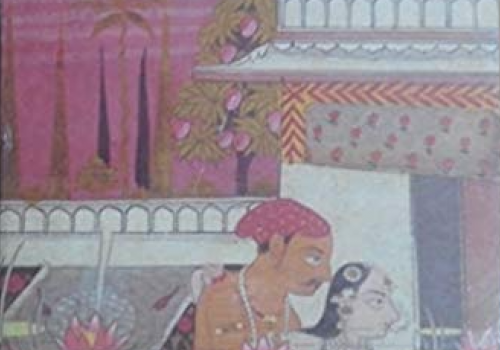 mughal era painting of a man and woman in an intimate pose
