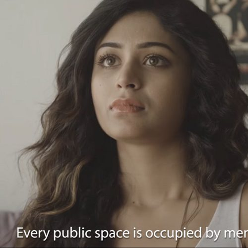 screenshot from 'Naked', a woman saying 'all public spaces are dominated by men'