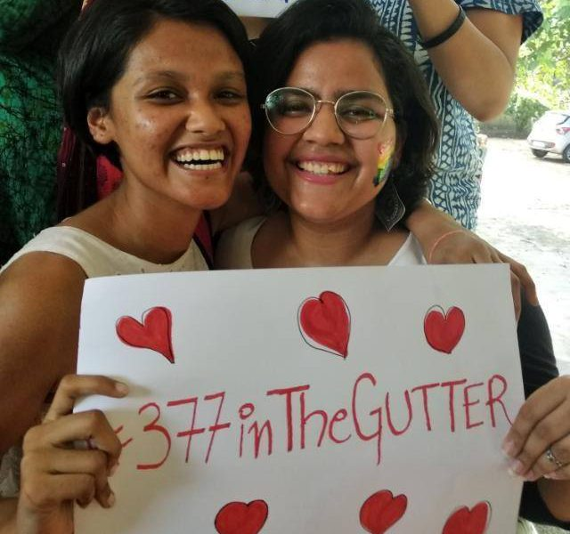 Students at IP College For Women, DU, celebrate the abolishing of Section 377. (Photo: Women's Development Cell, IP College For Women, Delhi University/Facebook)