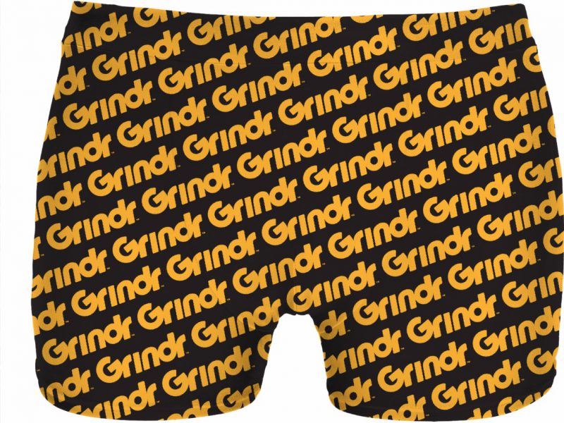 Imagie of an underwear with the word 'grindr' written all over it