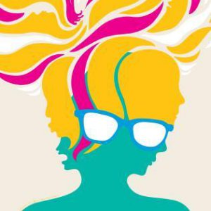 An abstract illustration of a person with a green-coloured head and hair painted in yellow and magenta. They are also wearing glasses