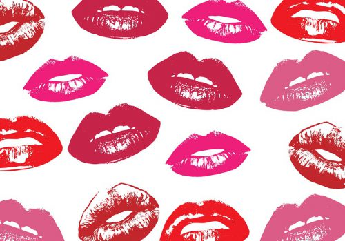 Illustrations of multiple lips wearing various shades of red lipstick