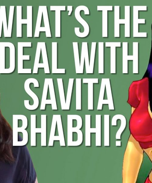 Against a green backdrop, the picture of a woman beside the picture of the eponymous character 'savita bhabhi'