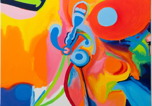 An abstract painting of various shapes on a canvas