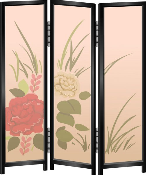 a paneled doorway, with rose patterns on it