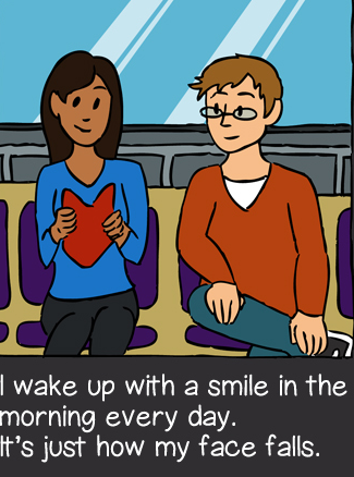 Illustration of a man and woman having a conversation. The woman is smiling.