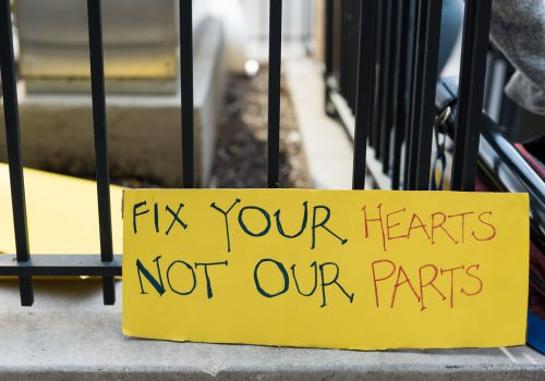 "slogan from an intersex rights rally: ""fix your hearts not our parts"""