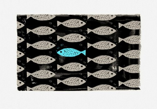 wallpaper pattern showing fishes where one fish is highlighted