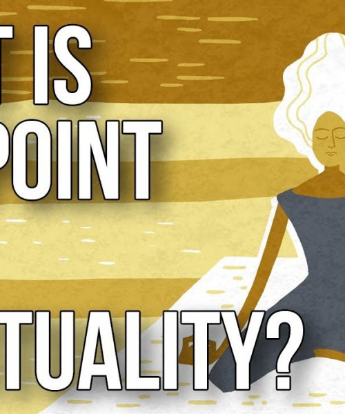 "The title card of the video, ""what is the point of spirituality?"""