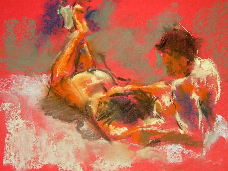 Sacred Mundane: A painting of two figures in an intimate ph