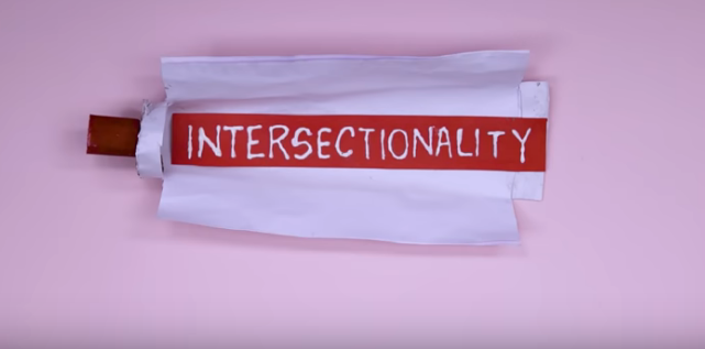 A still from the video which says 'intersectionality'