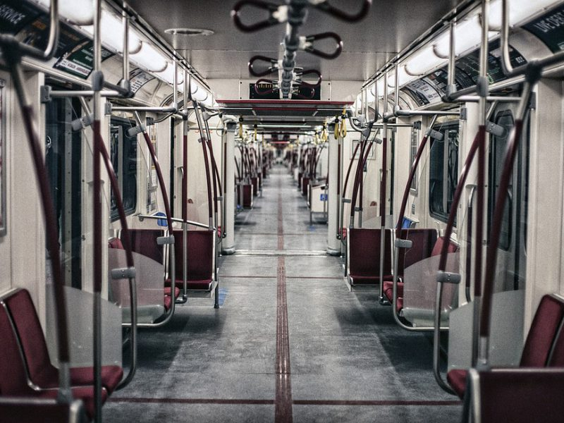 image of an empty metro compartment