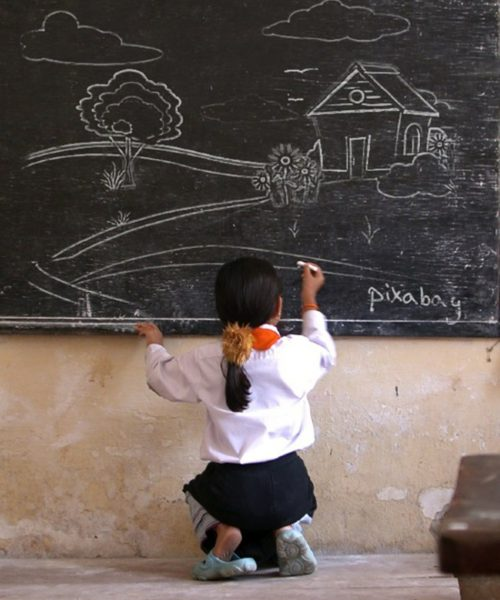 picture of a young girl writing on the blackboard