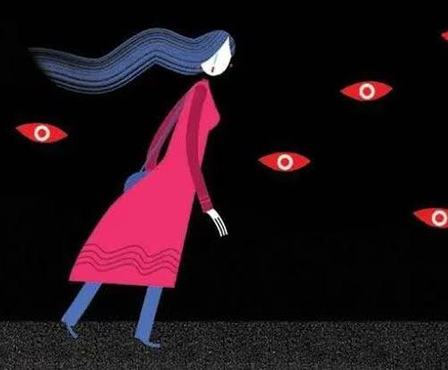 """Image of a woman being """"watched"""" by eyes that symbolise societal moral policing"""