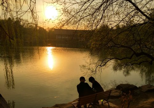 In the image, two people are sitting on a bench near a lake. The Sun is shining brightly and its reflection can be seen on the lake. A white and red coloured house can also be seen