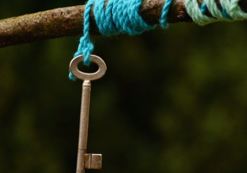 A key hanging off blue thread draped around a branch