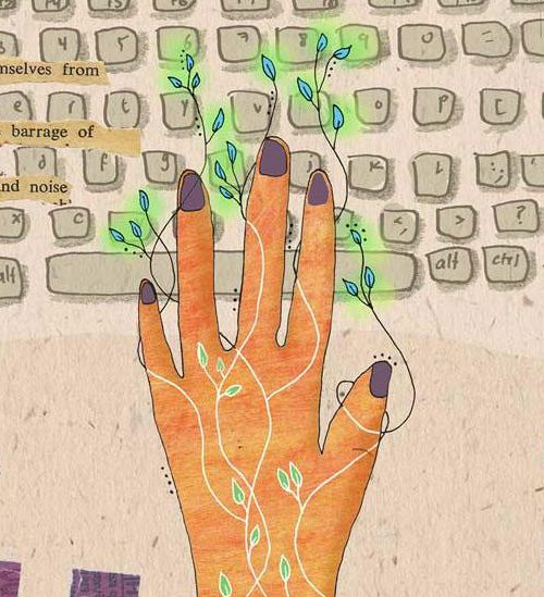 An illustration of a woman typing on a keyboard. From between her fingers and onto the keys, tendrils with leaves spread. The words, 'protect themselves from the barrage of words and noise' is superimposed on the keyboard on the left side of the illustration.