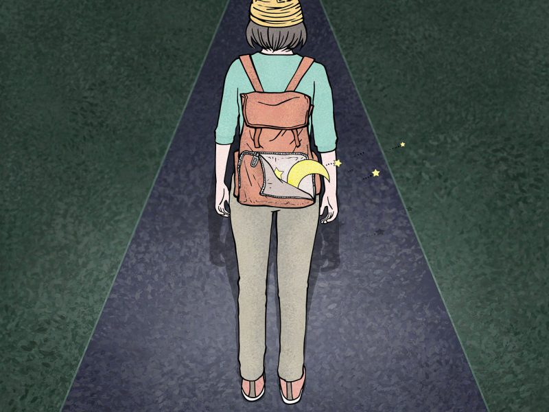 An illustration of a woman walking on an empty street at night, with a backpack from which a crescent moon and stars are emerging.