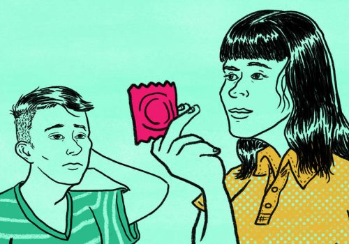An illustration, on a green background, of a woman and a man. The woman is holding up a condom wrapped in red.
