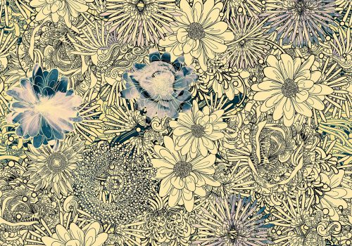 A pattern of many illustrated flowers interwoven together