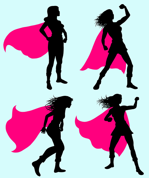 Four illustrations on a light blue background of a woman's silhouette wearing a pink cape in different, traditionally masculine poses.