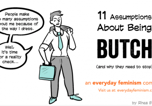 "A poster of the comic '11 Assumptions about being a butch (and why they need to stop)' A person can be seen on the left side of the poster. There is a speech bubble next to the person with the text ""People make many assumptions about me because of the way I dress."
