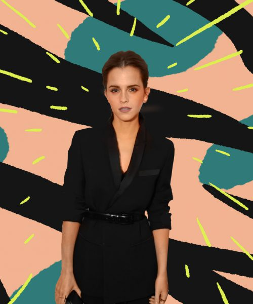 On a pick background with blue spots and black stripes, a photo of actor Emma Watson is superimposed with yellow lines drawn around her.