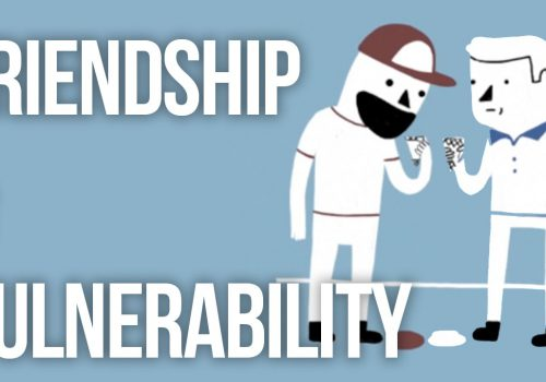 Poster image of the video 'Friendship and Vulnerability'. Drawing of two people eating ice cream can be seen in the image. On the left side is written Friendship and Vulnerability in capital letters